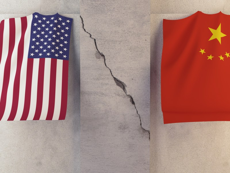 Conflict between USA and China. Image: iStock