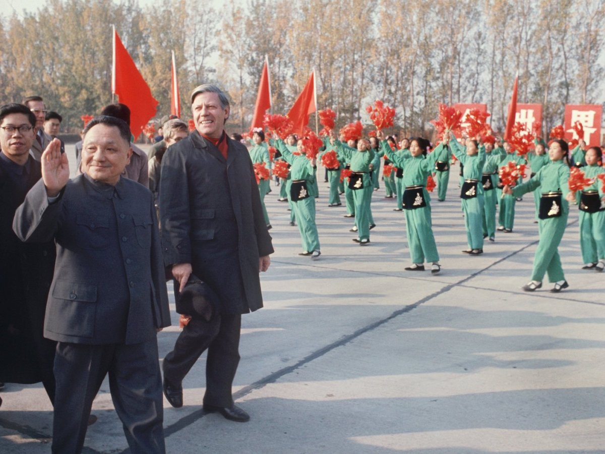 China's former leader Deng Xiaoping, who died in 1997, is seen with Helmut Schmidt at a parade during a visit by the German Chancellor to Beijing in 1975. Photo: AFP