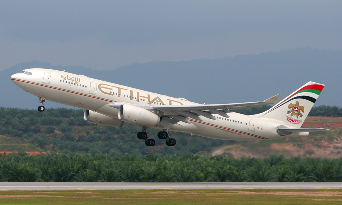 The woman gave birth on an Etihad Airbus. Photo: Wikimedia Commons
