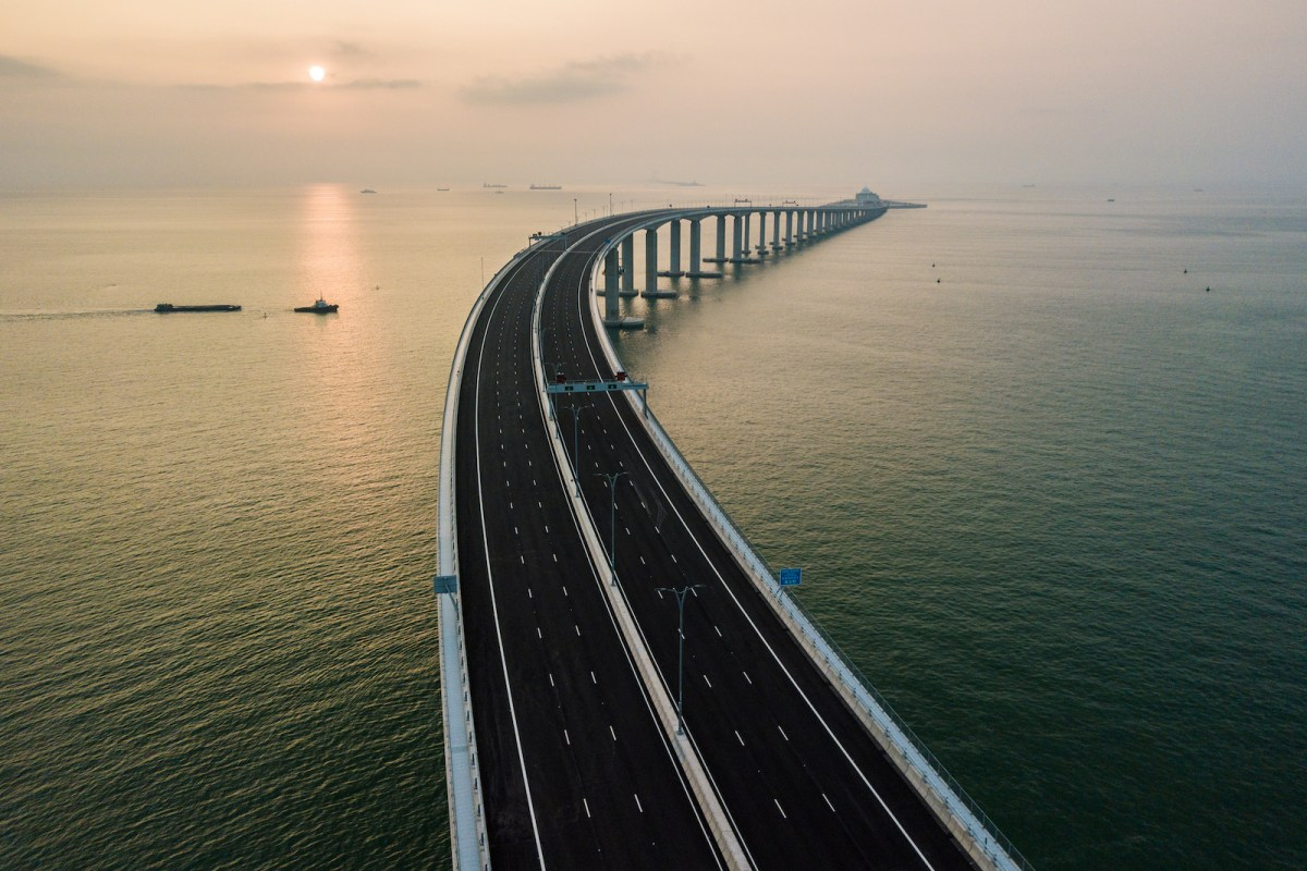 An aerial view of the Hong Kong-Zhuhai-Macau Bridge. Photo: AFP / Anthony Wallace