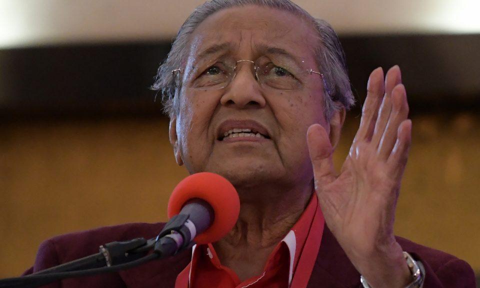 馬來西亞總理馬哈蒂爾於2018年1月7日在吉隆坡外發表講話。相片:AFP / Mohd Rasfan