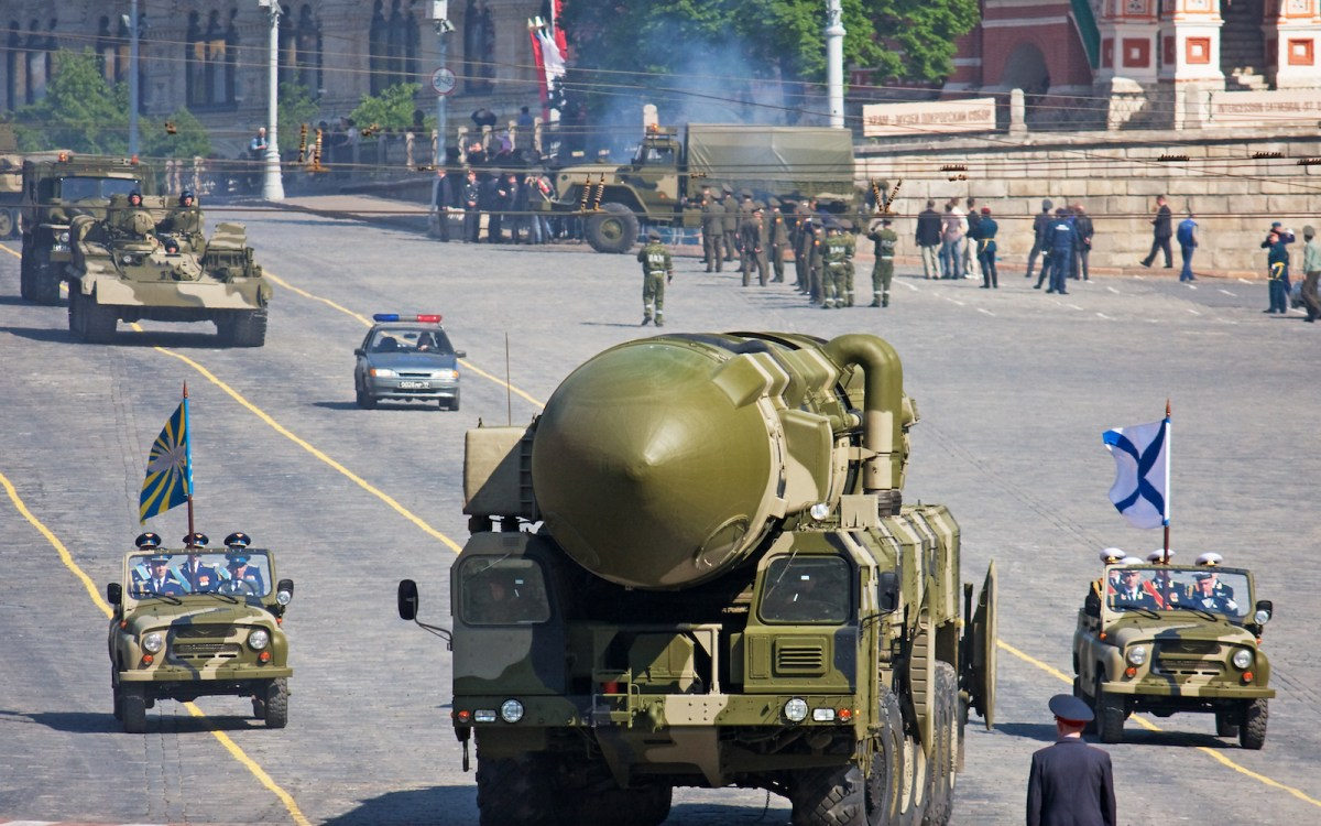 A large Russian missile is seen in a rehearsal for a military parade in Red Square, Moscow, on May, 5 2008. Photo: iStock