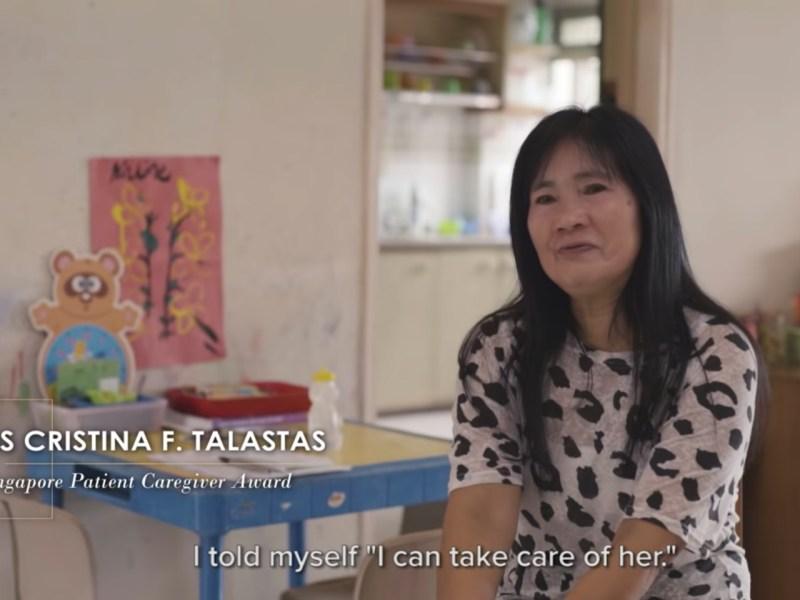 Cristina F. Talastas received the Singapore Patient Caregiver Award. Photo:  Youtube/Tan Tock Seng Hospital