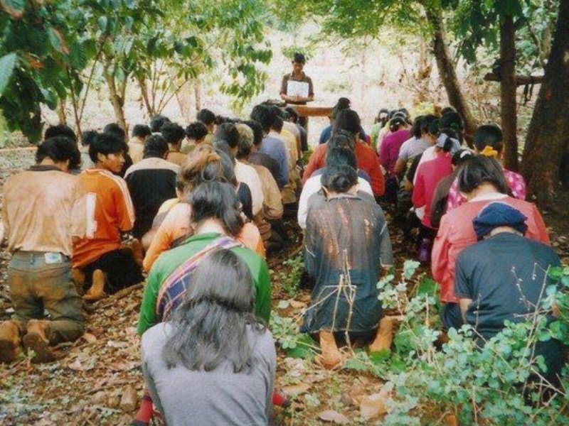 Ethnic Montagnard Christians pray at a makeshift forest church in Vietnam. Photo: Facebook/Campaign to End Torture in Vietnam