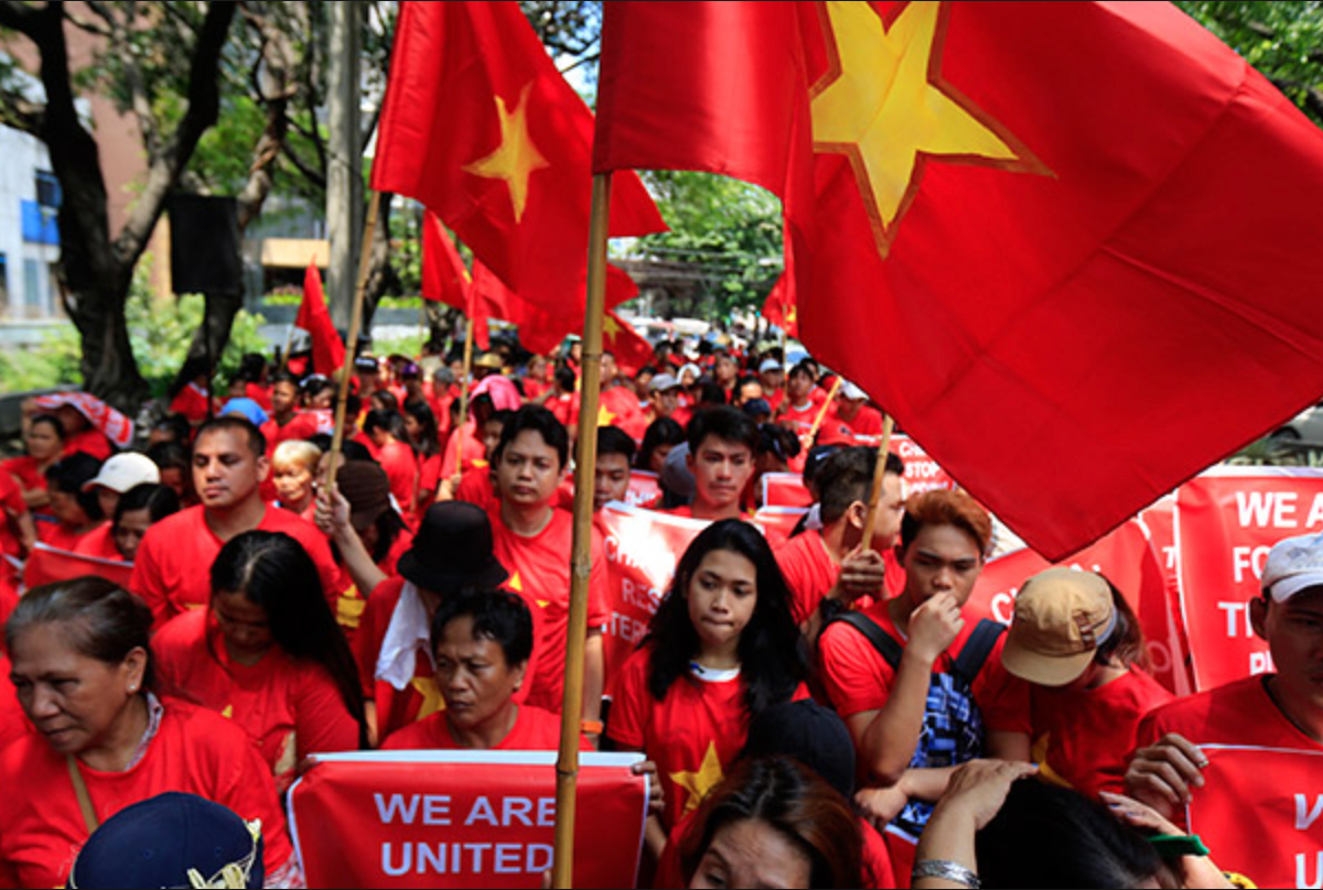 Flag-waving Vietnamese protestors in a file photo. Photo: Facebook