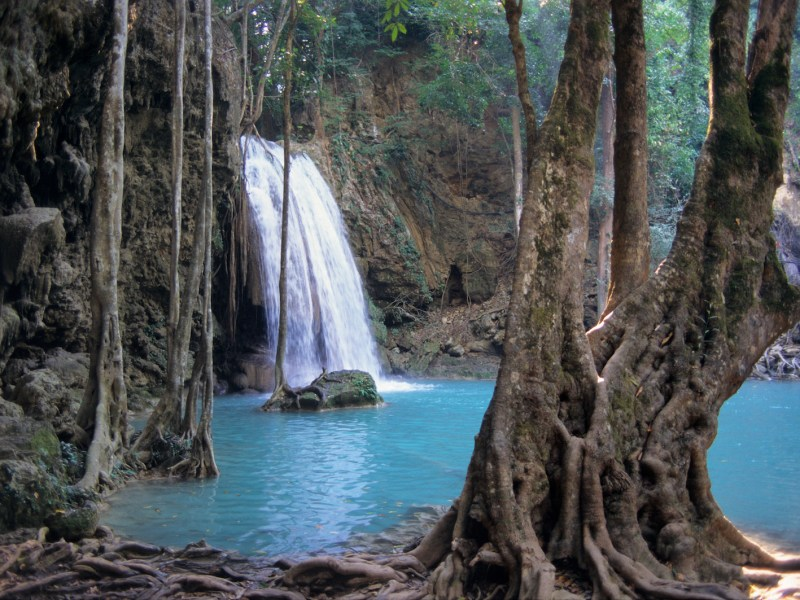 Kanchanaburi province in Thailand is famous for its national parks and waterways, like the Erawan waterfalls. Photo: AFP