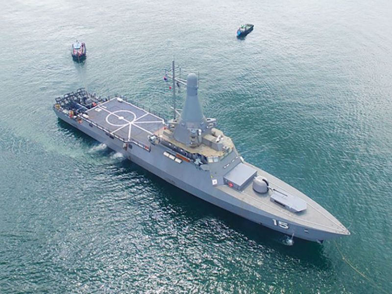 An aerial view of a littoral mission vessel of the Singaporean Navy. Photo: Handout