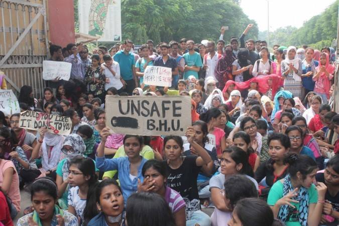 Students at Banaras Hindu University protest against a case of sexual harassment at the campus. Photo: Facebook