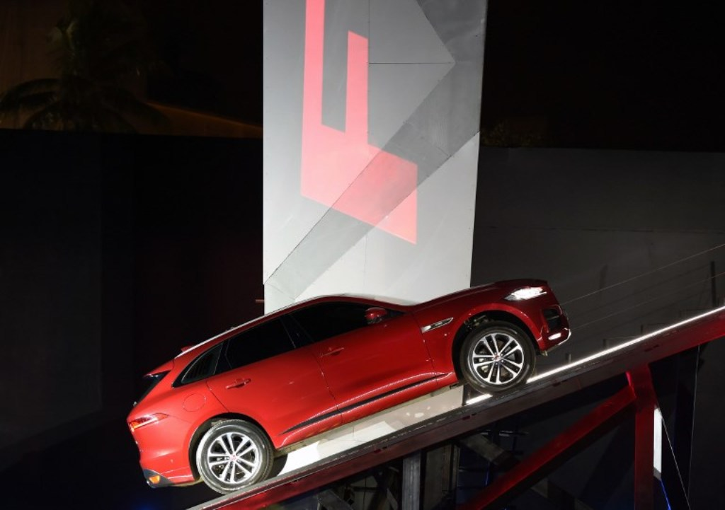 Jaguar Land Rover's 'Jaguar F-Pace' is seen at a show in Mumbai. Photo: AFP