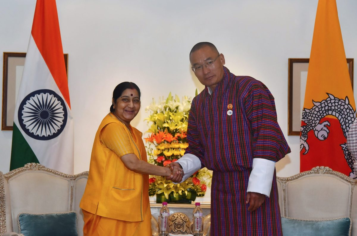This handout photograph released by India's Ministry of External Affairs on July 5, 2018, shows Indian Foreign Minister Sushma Swaraj meeting with Bhutan's then-prime minister Tshering Tobgay in New Delhi. Photo: AFP / Handout