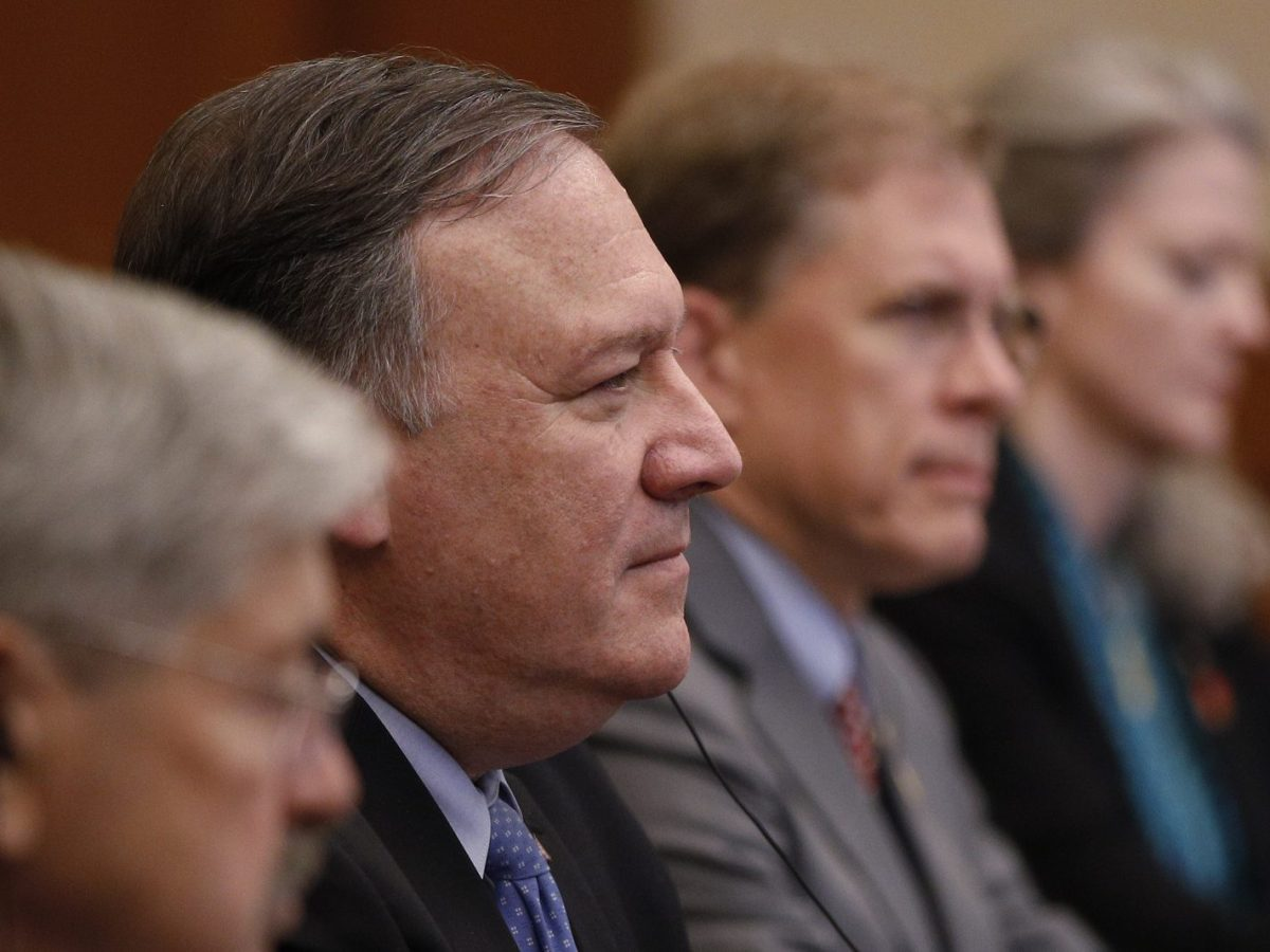 US Secretary of State Mike Pompeo, second left, listens to Yang Jiechi, a member of the Political Bureau of the Chinese Communist Party (not pictured), during a meeting at the Diaoyutai State Guesthouse in Beijing on October 8, 2018. Photo: AFP