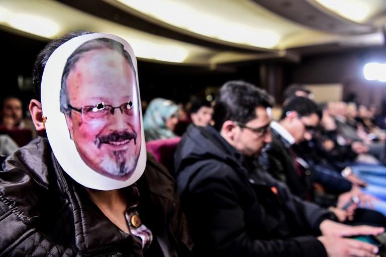 A man wears a mask of Jamal Khashoggi at an event honoring the slain journalist in Istanbul on Sunday. Photo: iStock