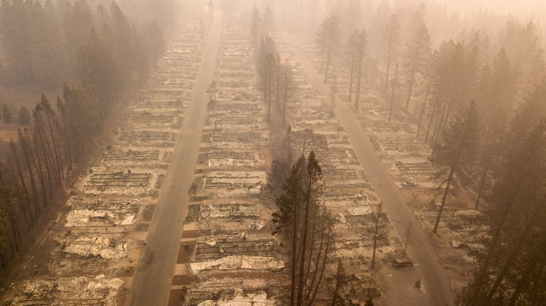 In this aerial photo, a burned neighborhood is seen in Paradise, California. Photo: AFP/Josh Edelson