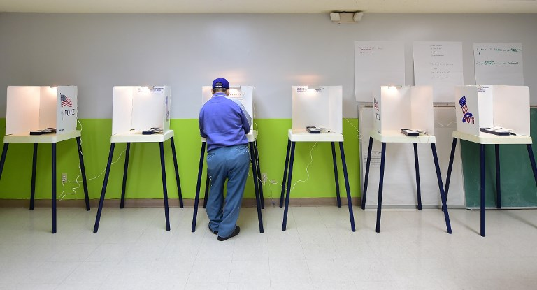 A man casts his vote at a polling station in California, a state that has a large enough Asian-American population that their votes could be decisive in a tight election. Photo: AFP