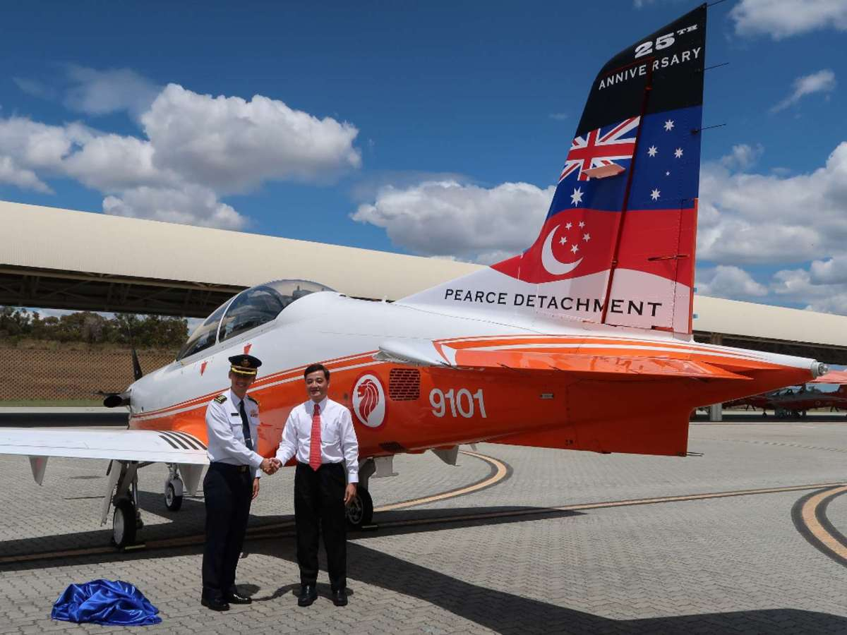 A trainer plane sporting livery featuring the Australian and Singaporean flags is seen at Base Pearce in Western Australia. Photo: Handout