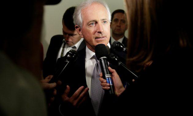 共和黨參議員科克在國會山與記者交談。相片:Reuters / Joshua Roberts