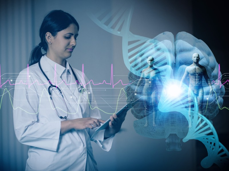 Doctor and genetic engineering abstract. Internet of Things. 3D rendering. Image: iStock