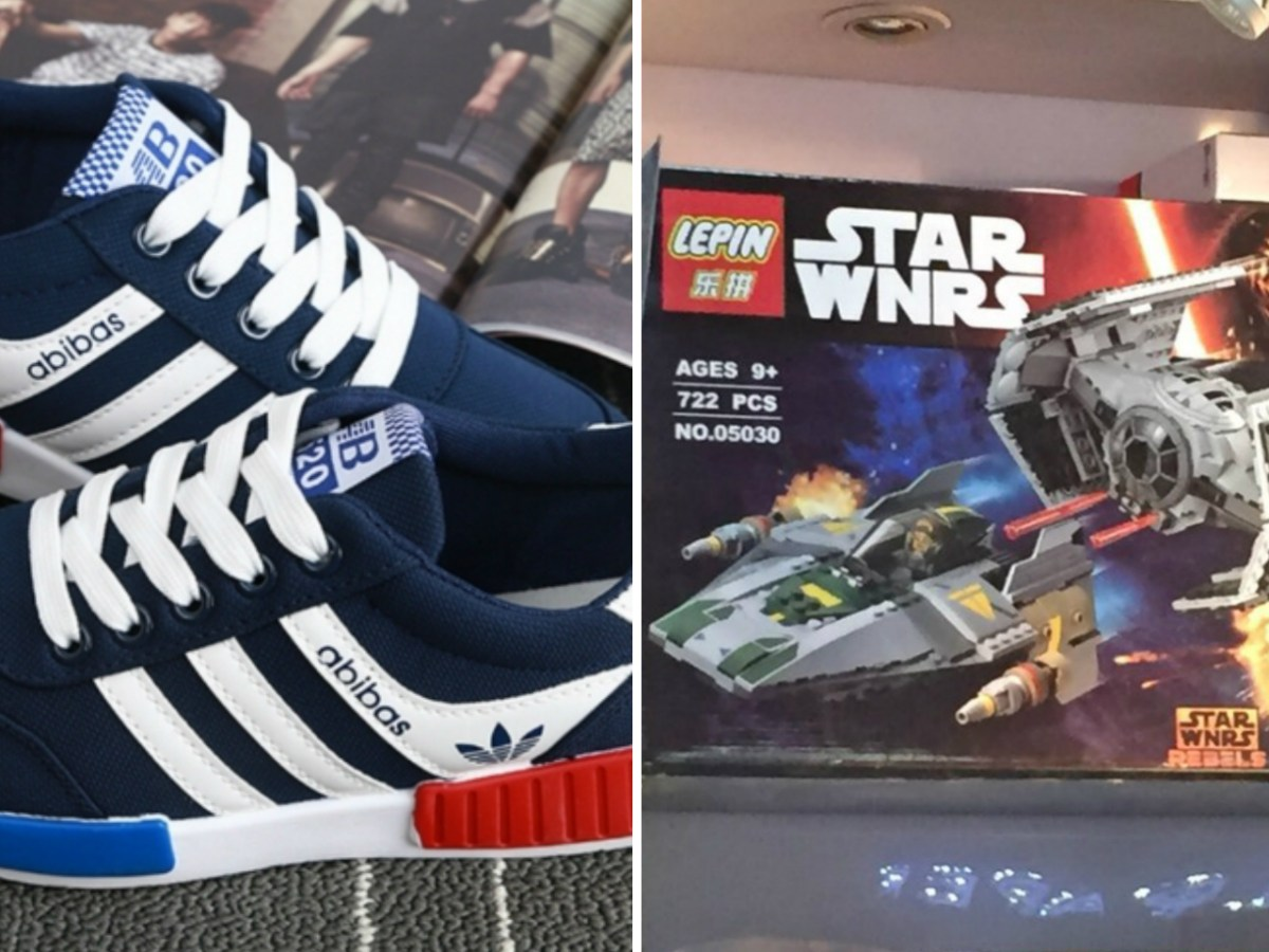 "Counterfeit products such as ""Abibas' sport shoes and Lepin's ""Star Wnrs"" toys can be found on Alibaba's e-shops. Photo: Reddit, Baidu"