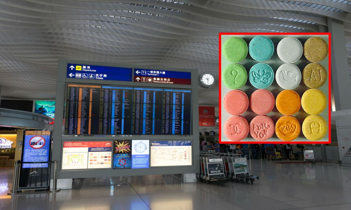 Hong Kong International Airport, and (inset), ecstasy. Photo: iStock/Wikimedia Commons