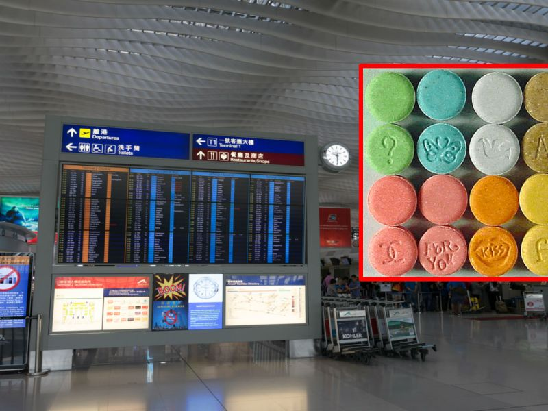 Hong Kong International Airport, and (inset), ecstasy. Photo: iStock/Wikimedia Commons