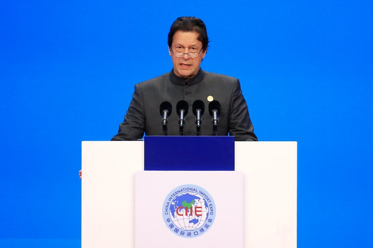 Pakistani Prime Minister Imran Khan speaks at the opening ceremony of the first China International Import Expo in Shanghai on November 5, 2018. Photo: AFP / Aly Song / Pool