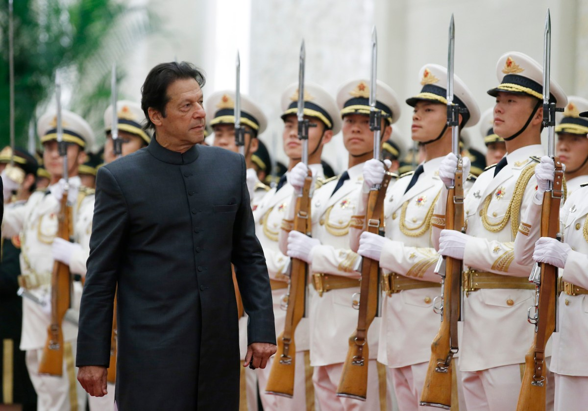 Pakistani Prime Minister Imran Khan attends a welcome ceremony in Beijing. Photo: AFP/Jason Lee