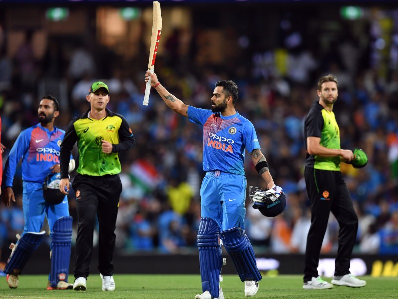 India's batsman Virat Kohli celebrates his team's victory against Australia in a T20 international cricket match at the SCG in Sydney on November 25, 2018. Photo: AFP/Saeed Khan