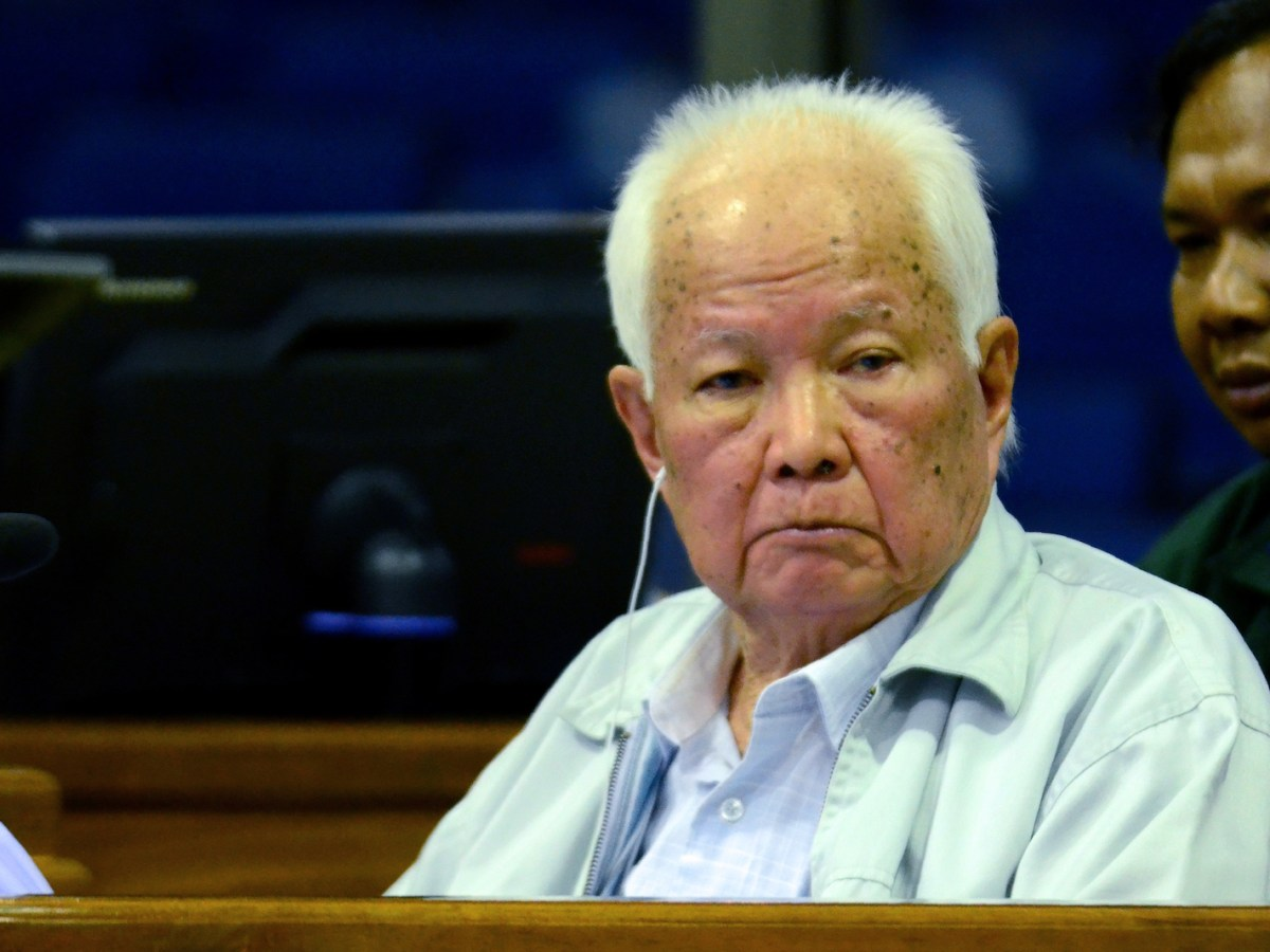 Former Khmer Rouge head of state Khieu Samphan sits in the dock in the courtroom at the ECCC in Phnom Penh. Photo: AFP/Nhet Sok Heng/ECCC