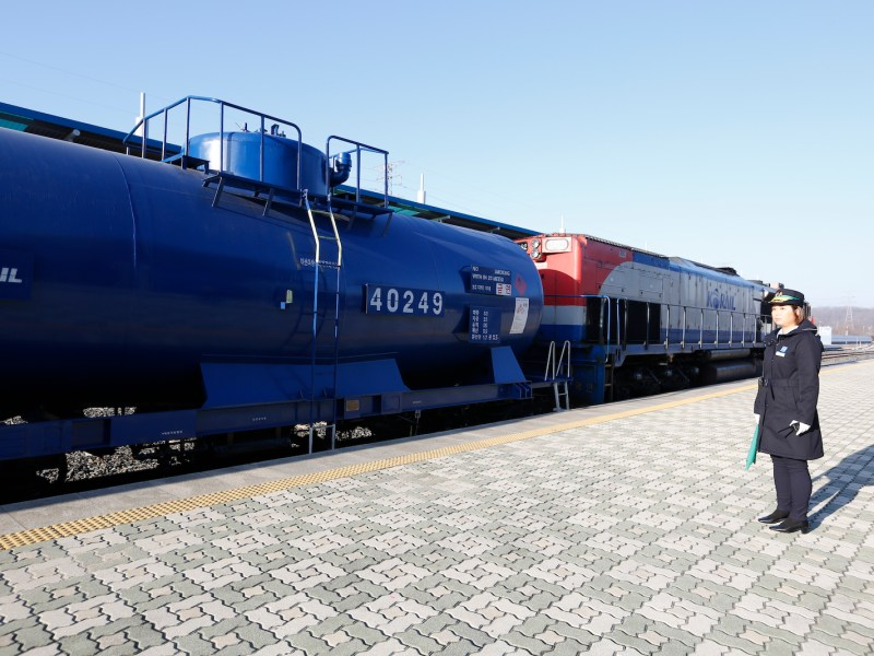 A South Korea train prepares to travel across the border into North Korea on Dorasan station on November 30, 2018. Photo: AFP/Jeon Heon-Kyun/Pool
