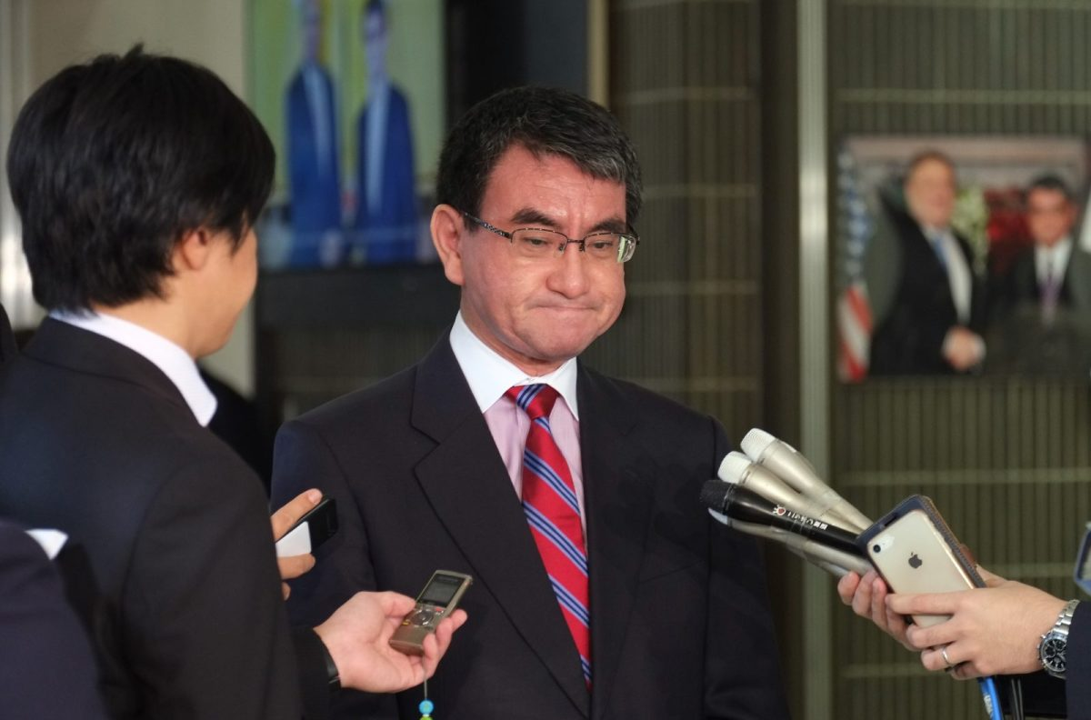 Japan's Foreign Minister Taro Kono answers questions at the Foreign Ministry in Tokyo on October 31, 2018, after a South Korean court ruling ordering Japanese firm Nippon Steel to pay compensation for wartime forced labor on October 30. Photo: AFP/Kazuhiro Nogi
