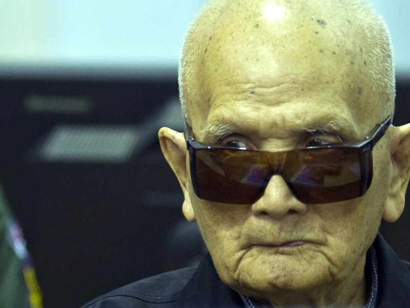 Khmer Rouge leader 'Brother Number Two' Nuon Chea sitting in the courtroom at the ECCC in Phnom Penh. Photo: AFP/ ECCC