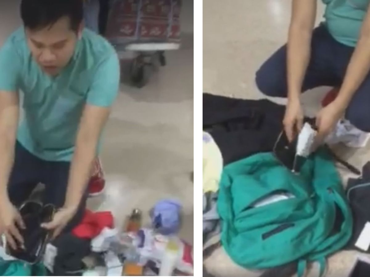 Filipino migrant worker Andrew Montes posted on his Facebook page that his luggage had been tampered with and his mobile phone, money and some valuables were missing. Photo: Facebook/Mah Fe Moskila