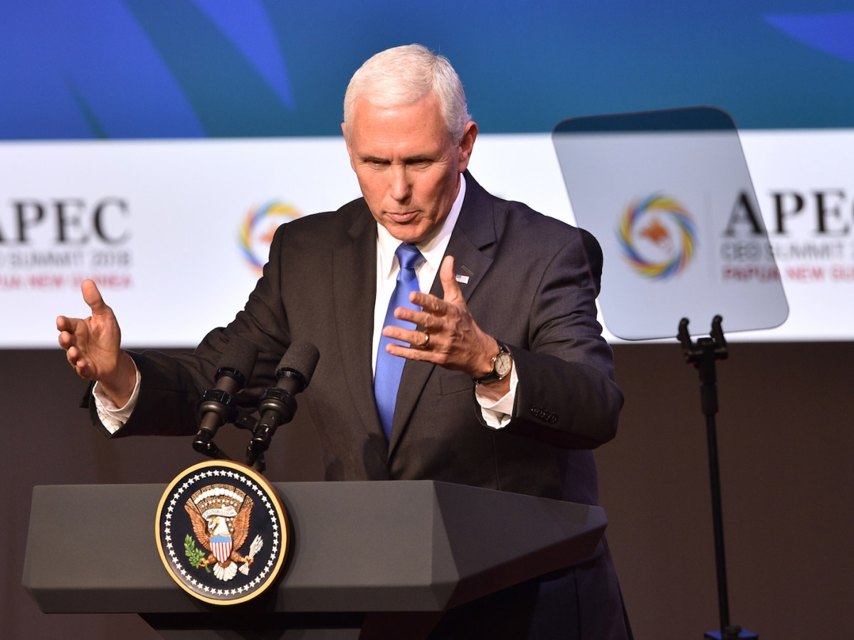 US Vice President Mike Pence makes his keynote speech at the CEO Summit of the Asia-Pacific Economic Cooperation (APEC) summit in Port Moresby on November 17, 2018. Photo: AFP/Peter Parks