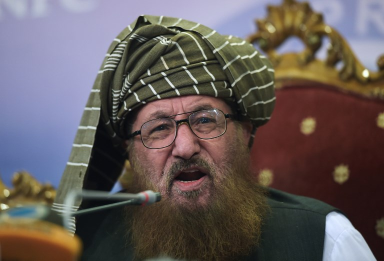 File photo of  Sami-ul-Haq, head of the Defence of Pakistan Council. The cleric, who had close ties to the Afghan Taliban, was assassinated on Nov 2, 2018. Photo: AFP/ Aarmir Qureshi