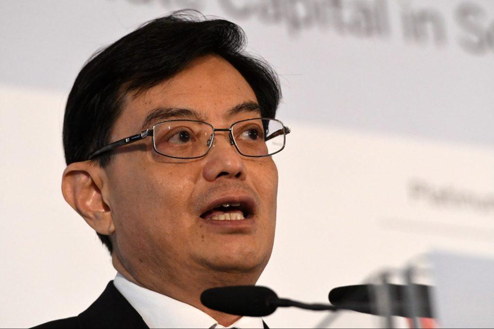 Singapore Finance Minister Heng Swee Keat delivers a keynote address at the 8th World Bank-Singapore infrastructure Finance Summit in Singapore on April 5, 2018. Photo: AFP/Roslan Rahman
