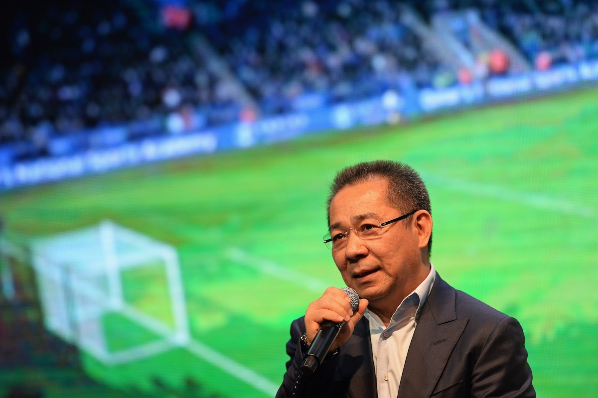 Late Leicester City football club owner Vichai Srivaddhanaprabha during a presentation of the English Premier League trophy at the King Power duty-free headquarters in Bangkok on May 18, 2016. Photo: AFP/Christophe Archambault
