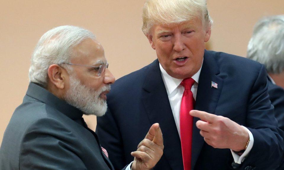 2017年7月8日,美國總統特朗普(右)與印度總理莫迪在德國北部漢堡舉行G20峰會期間談論工事。相片:AFP / Michael Kappeler / Pool
