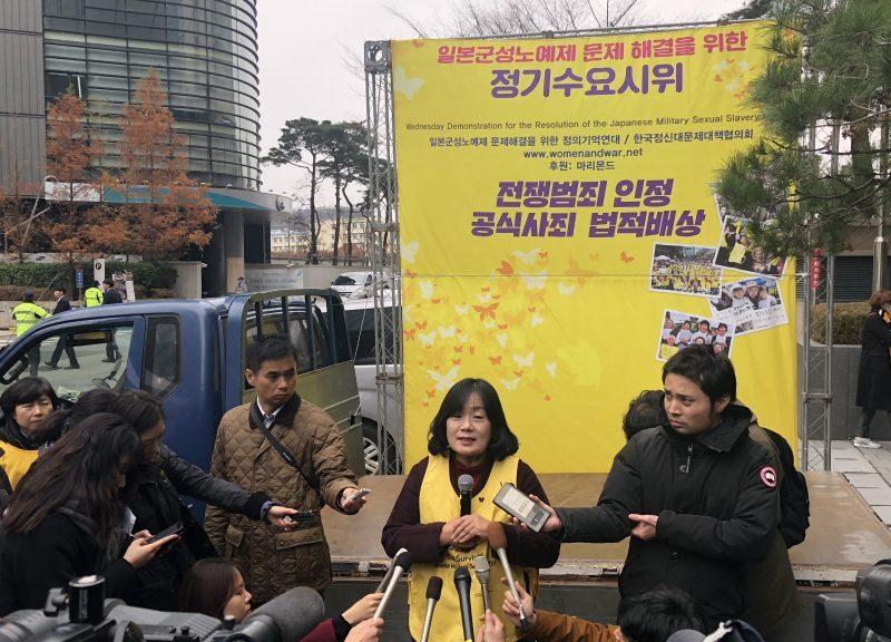 韓國司法和紀念委員會(Korean Council for Justice and Remembrance)的Yoon Meehyang表示,2015年的協議沒有充分反映慰安婦的觀點,所以該組織支持解散基金會。相片:Steven Borowiec