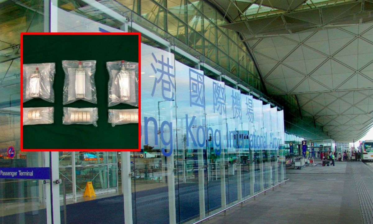 Hong Kong Airport and the suspected cocaine, inset. Photo: Wikimedia Commons, HK government