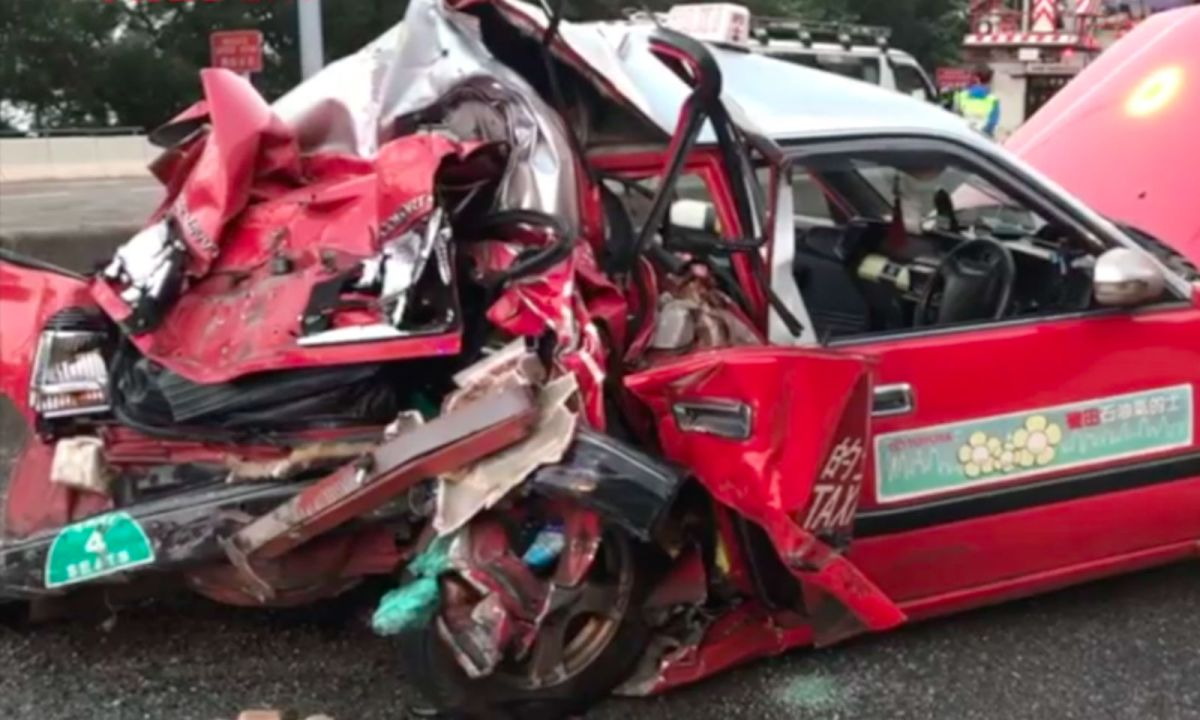 The fatal crash in Tsing Yi in the New Territories. Photo: RTHK