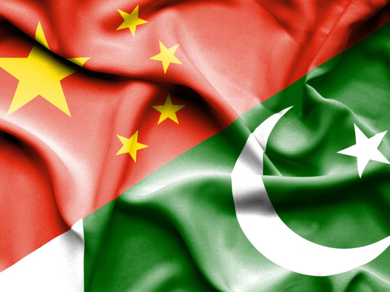 Waving flag of Pakistan and China. Image: iStock