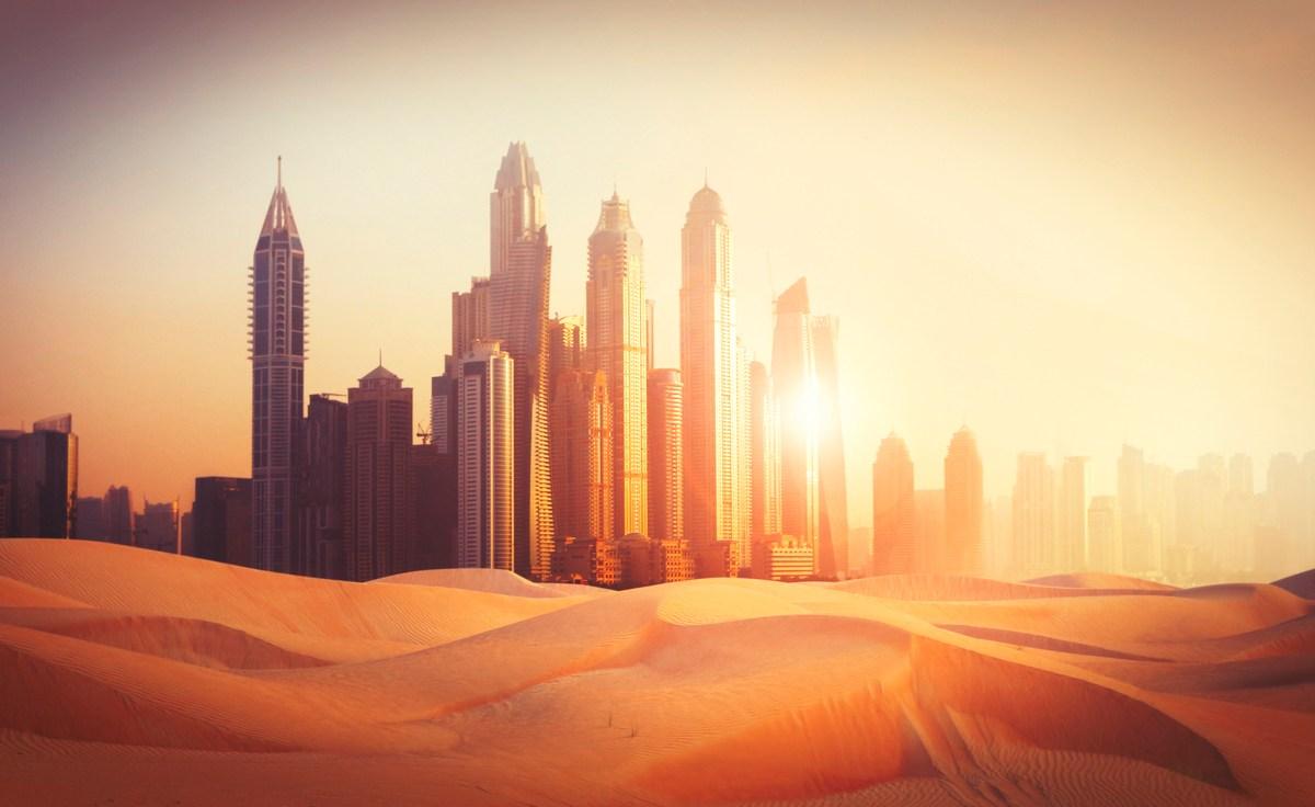 Dubai Marina in sunset light in the desert. Photo: iStock