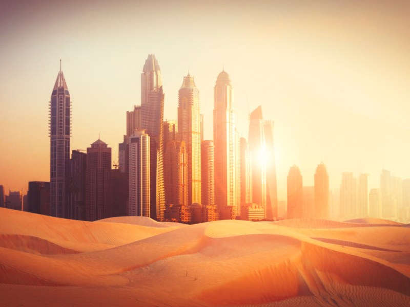 Dubai Marina in sunset light in the desert. Photo: iStock