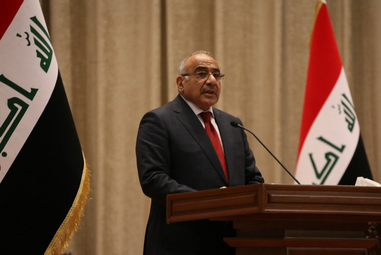 Iraqi Prime Minister Adel Abdel-Mahdi addresses parliament in Baghdad in October. Photo: AFP