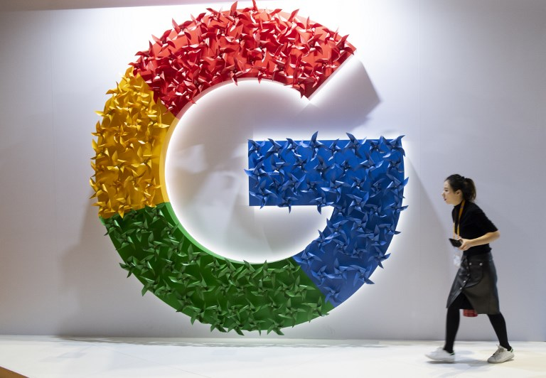 A booth set up by Google at the China International Import Expo in Shanghai. Photo: AFP