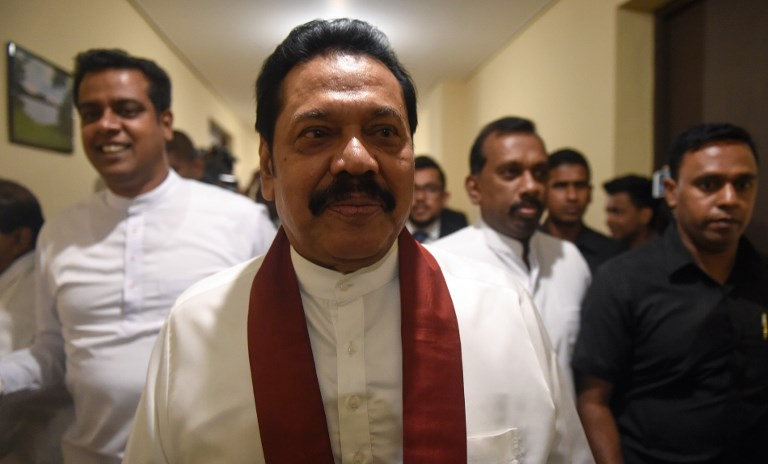 Sri Lankan Prime Minister Mahinda Rajapakse is expected to step down on Saturday. Photo: AFP