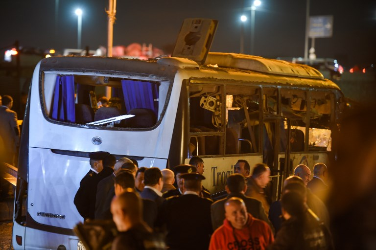A tourist bus that was hit by a bomb blast near the Giza Pyramids in Egypt on Friday. Photo: AFP