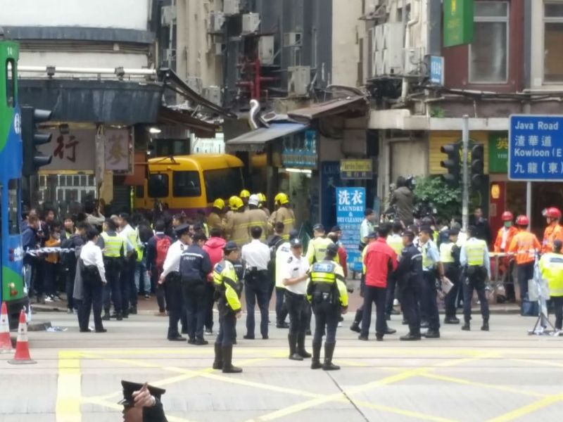 The bus is seen in North Point after the fatal crash on Hong Kong Island on Monday. Photo: Asia Times
