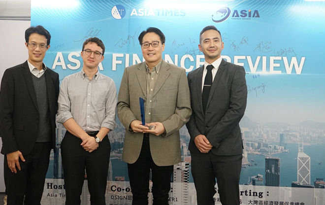 (From left) Asia Times China Editor Jeff Pao, Standard Kepler Executive Director Tobias Mathiasen, Hong Kong Blockchain Association Co-Chair Tang Yi and Asia Times conference host, Tohfeek Gafoor. Photo: Asia Times