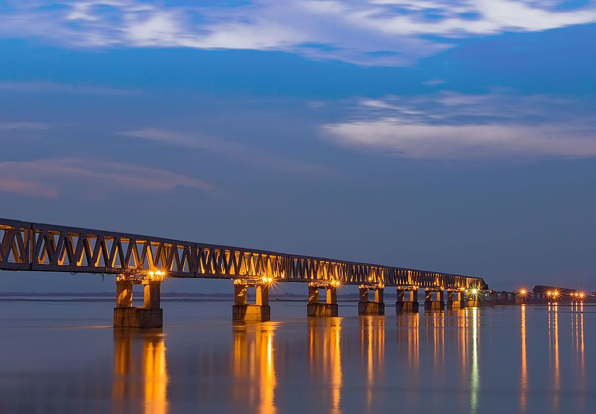 Bogibeel bridge is a combined road and rail bridge in the Dibrugarh district of the north eastern Indian state of Assam. Photo by: Vikramjit Kakati / Wikimedia